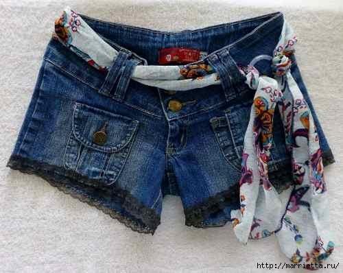 шорты из джинсов, переделка и украшение (28) (500x398, 111Kb)
