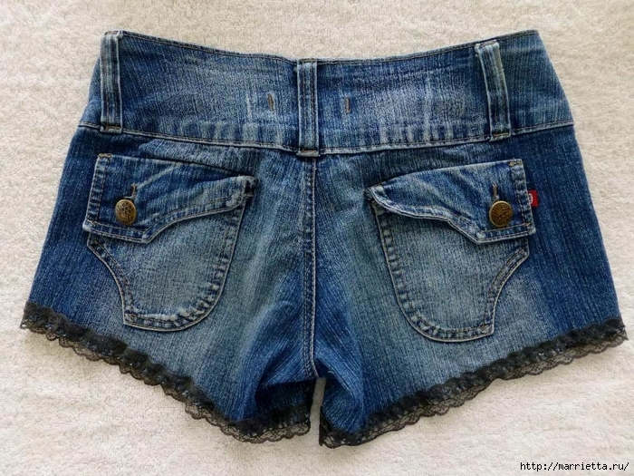 шорты из джинсов, переделка и украшение (39) (700x525, 367Kb)