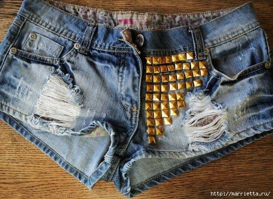шорты из джинсов, переделка и украшение (48) (550x400, 196Kb)
