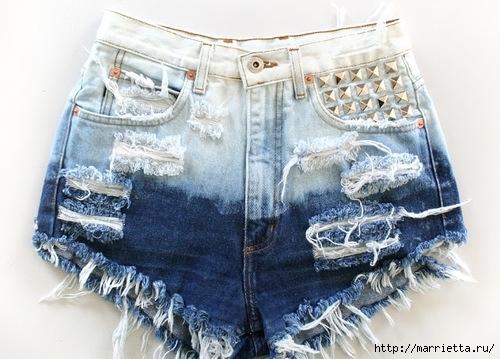 шорты из джинсов, переделка и украшение (53) (500x359, 150Kb)