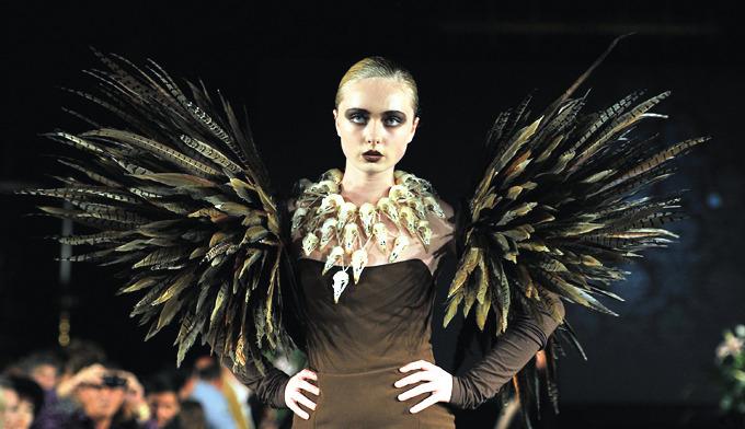 дизайнерская одежда их перьев птиц Джесс Итон 5 (680x392, 222Kb)