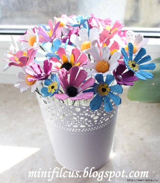 Как сделать цветы из яичных лотков. Много идей (38) (613x700, 298Kb)
