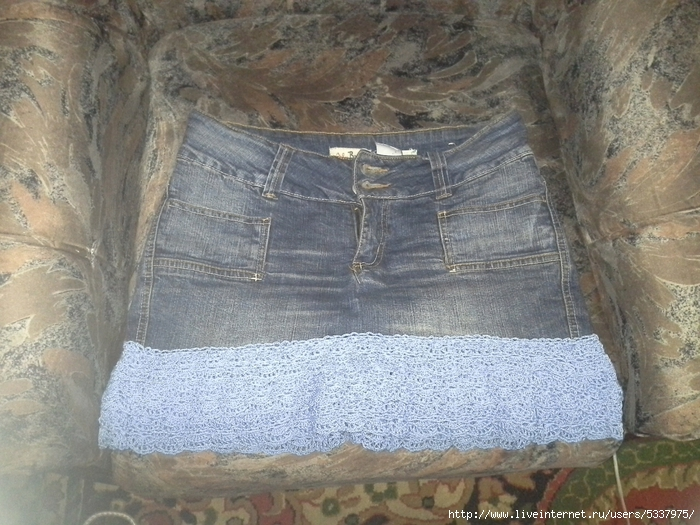 Обвязка джинсовой юбки крючком