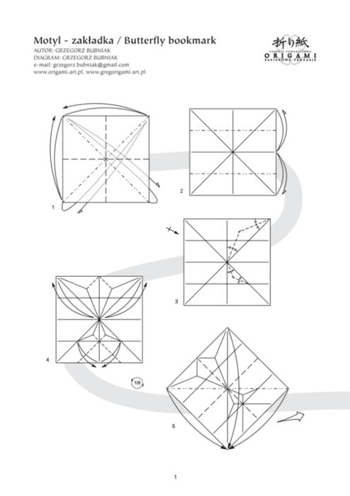 бабочка оригами закладка для книжки (4) (494x700, 106Kb)