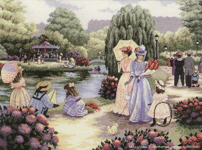 бесплатные схемы вышивки Прогулка в парке.