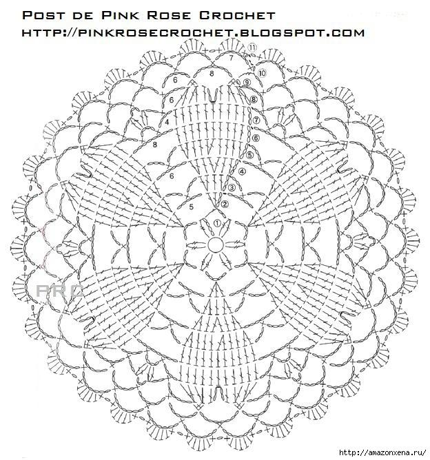 сердечное вязание крючком. сафетки крючком схемы (5) (624x668, 279Kb)