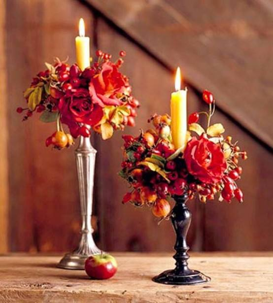 50 Amazing Fall Flowers Décor Ideas For Your Home: 50 Cool Fall Flowers Décor With Wooden Wall Candleholder And Fall Flower Deco
