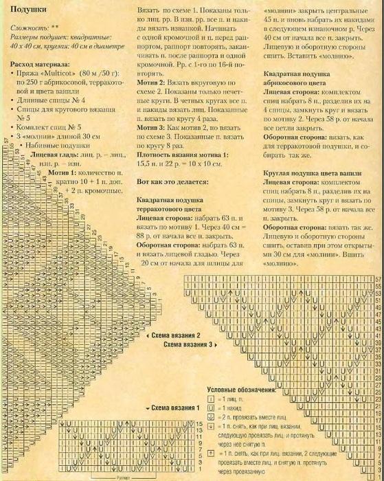 Вязание подушек на спицах с описанием и схемами