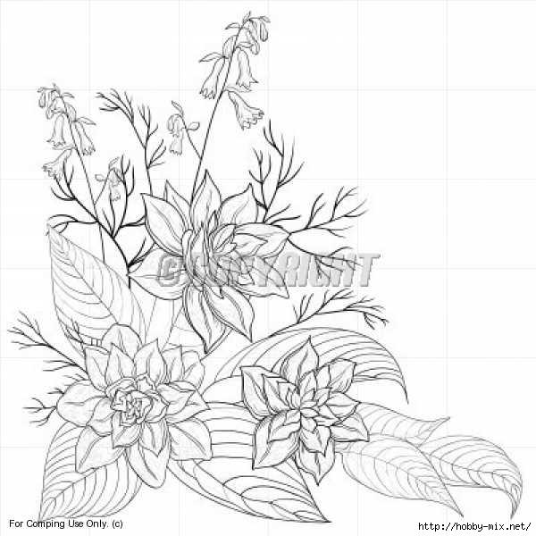 Контур цветка картинка 8