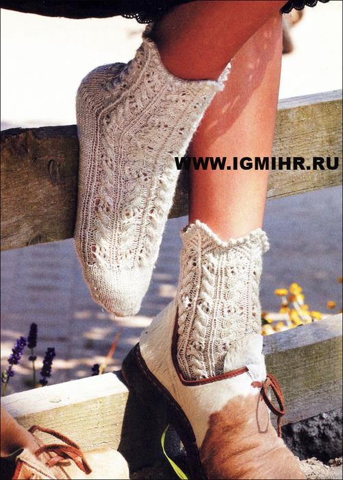 Кружевное чудо. Женские носки с фестончатым краем. Спицы
