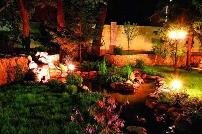 Ландшафтное освещение: светодиодные фонари и другие типы светильников как элемент