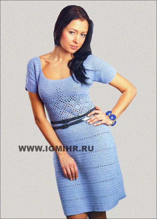 Женственное голубое платье с короткими рукавами. Крючок