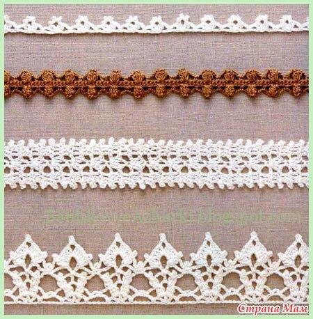 На схемах есть узоры, по которым можно связать тесьму или бретельки на топик.  1001 узор для вязания спицами и крючком.