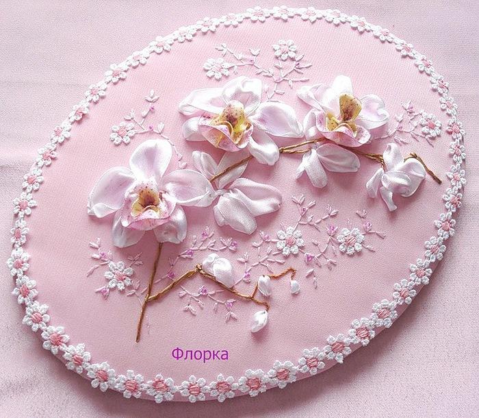 Вышивка лентами орхидей мастер класс