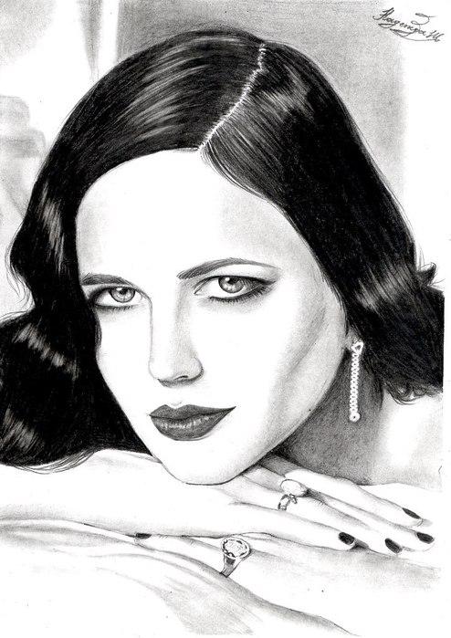 Метки мои рисунки портрет ева грин eva
