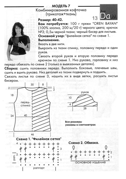 Комбинирование ткани и вязания спицами схемы 1