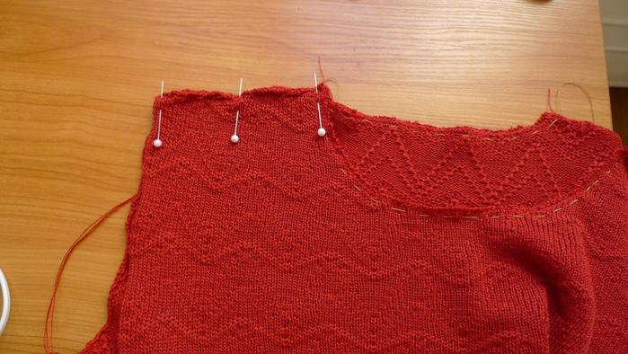 Обработка горловины машинного вязания