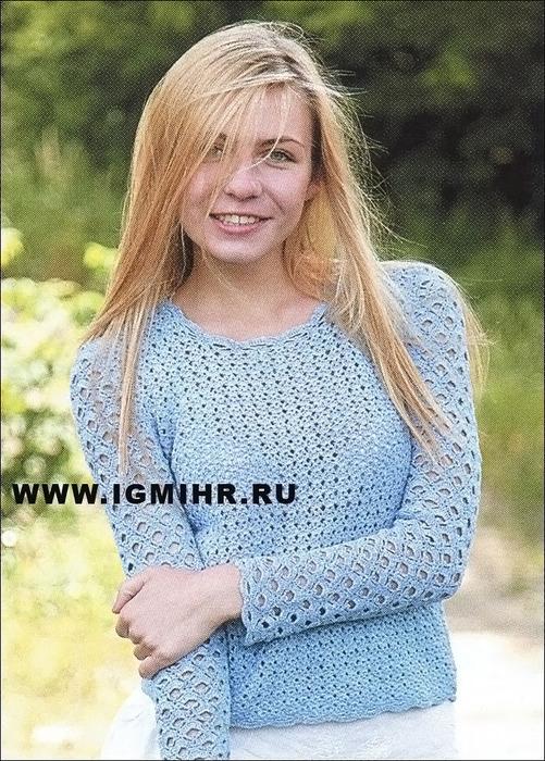 Ажурный пуловер нежного голубого цвета. Крючок