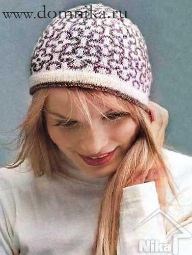 вязаные шапки/4108541_zhenskaja_vjazanaja_shapka_spicami (377x500, 25Kb)