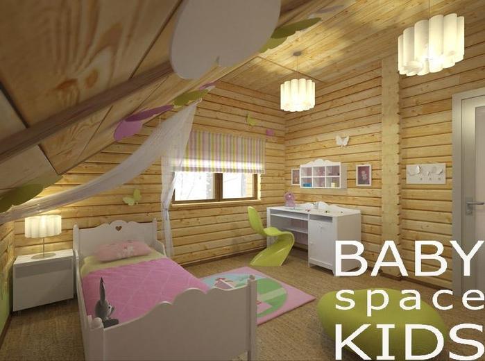 Интерьер для девочки в деревянном доме