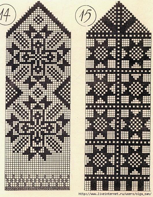 Схемы для вязания варежек