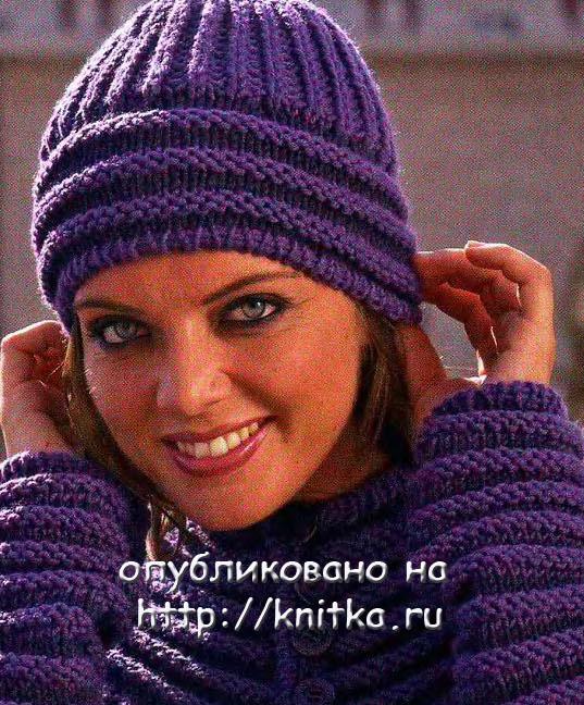 вязание спицами шапка женская.