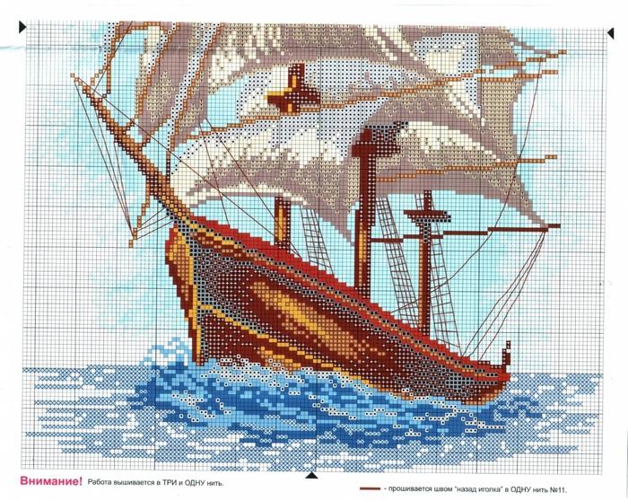 схема вышивки корабля - Самое