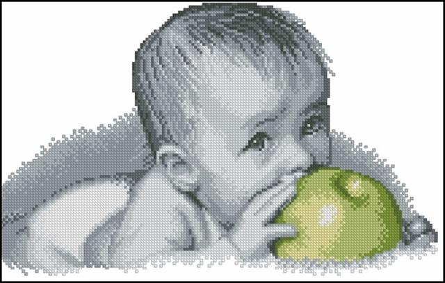 Ребенок с яблоком.