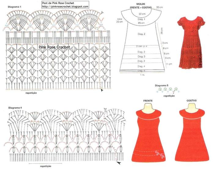 Вязание красного платья крючком