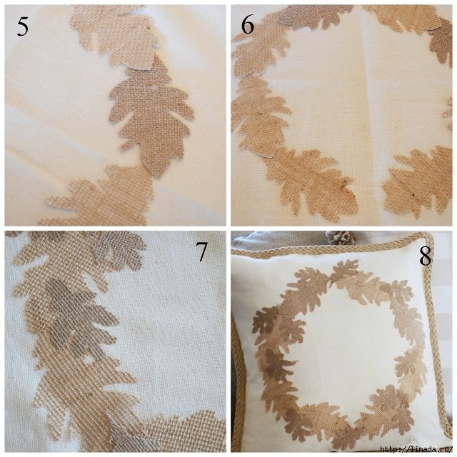 Fall No Sew Burlap Leaf Pillow instructions 2 stonegableblog (640x640, 299Kb)