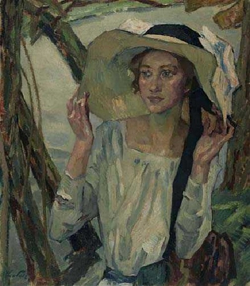 Leo Putz (1869 - 1940).Lady with a Florentine hat (504x575, 215Kb)