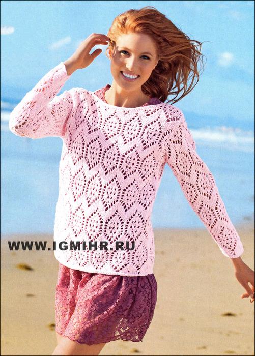 Нежное кружево. Эффектный ажурный пуловер розового цвета. Спицы