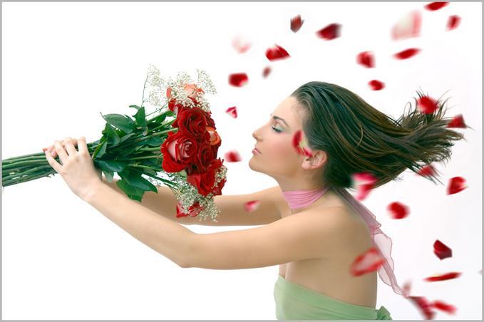 Поздравление женщины в цветах