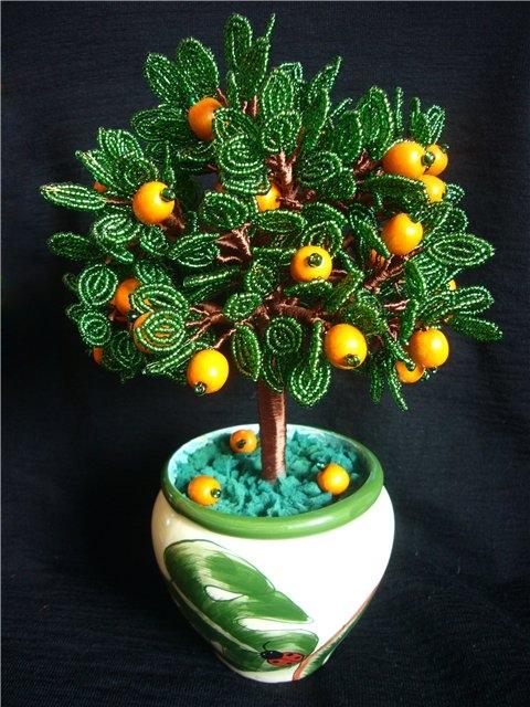 красивое дерево из бисера, как из бисера сплести дерево, апельсиновое дерево из бисера.