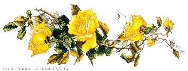 Жёлтые розы Вышивка крестом,