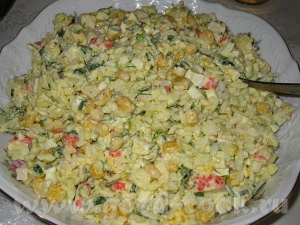 Салат с крабовый с рисом и огурцом рецепт с