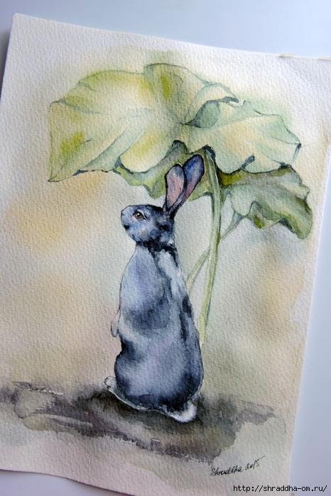 кролик в лопухах от Shraddha (1) (466x700, 251Kb)