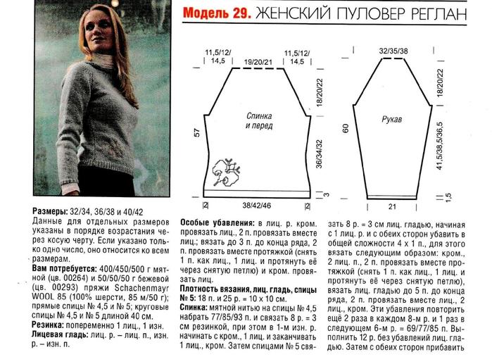 Вязание свитера с регланом спицами 8