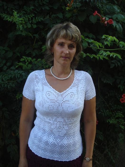 Филейное вязание блузки крючком 57