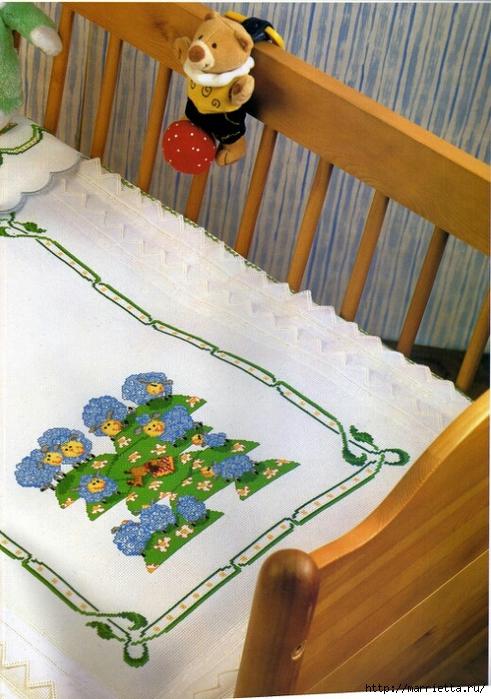 Овечки - вышивка крестом для детской кроватки (2) (491x700, 299Kb)