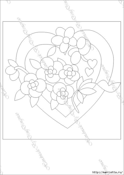 Любовное панно с сердечками в технике пэчворк (3) (494x700, 113Kb)