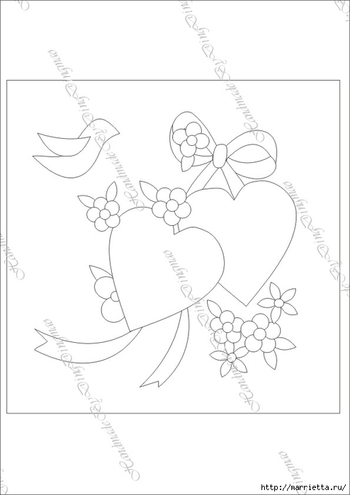 Любовное панно с сердечками в технике пэчворк (5) (494x700, 96Kb)