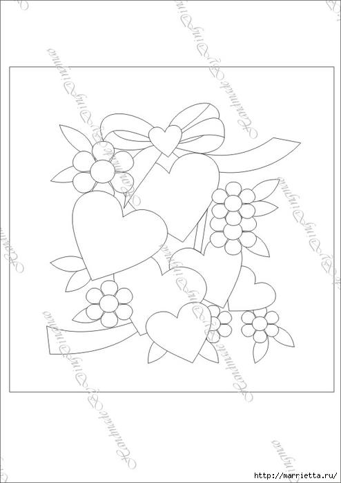 Любовное панно с сердечками в технике пэчворк (11) (494x700, 103Kb)