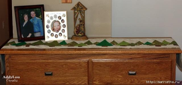 Новогодняя салфетка с елочками. Лоскутное шитье (2) (640x300, 119Kb)