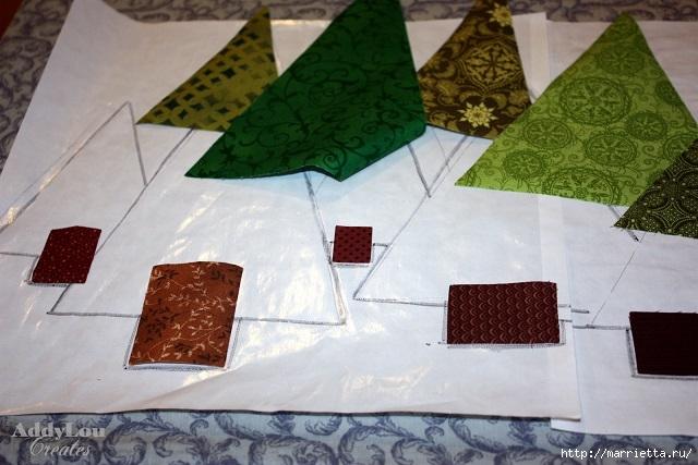 servilleta de Navidad con árboles de Navidad.  Acolchar (8) (640x427, 180Kb)