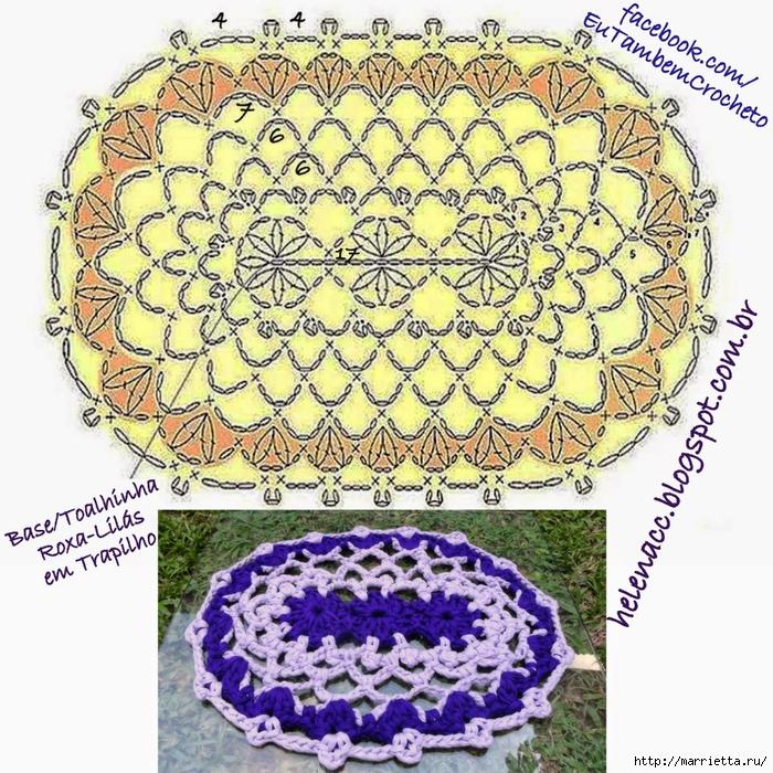 Овальный коврик крючком. Вязание из трикотажных полосок (1) (700x700, 464Kb)