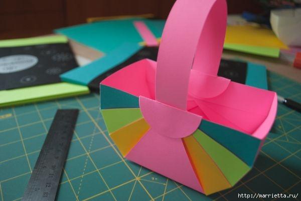 Корзинка из цветной бумаги своими руками (14) (600x402, 90Kb)