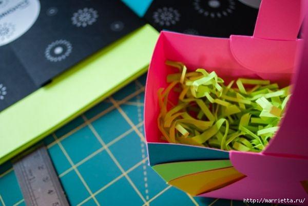 Корзинка из цветной бумаги своими руками (16) (600x402, 110Kb)