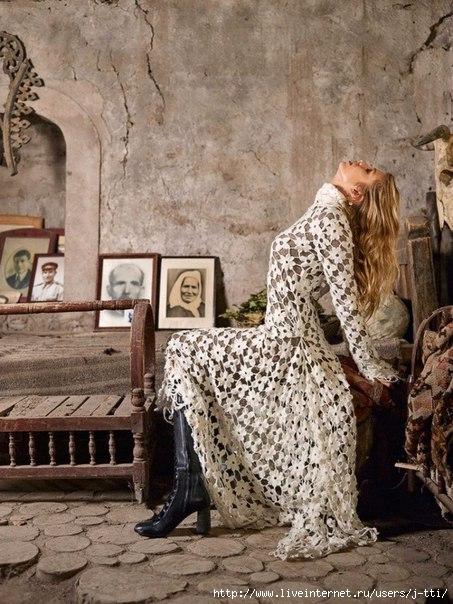 Длинное белоснежное вязанное платье,фото вязанных платьев