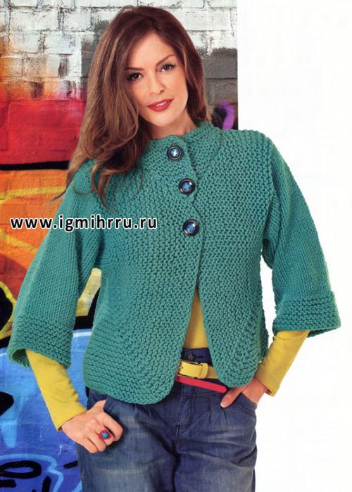 Лаконичный жакет платочной вязкой на осинке - 9a